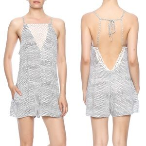 L*space black and white romper with Lace